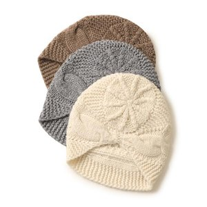 2020 new 100 cashmere hat   women Hand-knitted autumn and winter knitted size twisted warm hat wild cute a multi-purpose