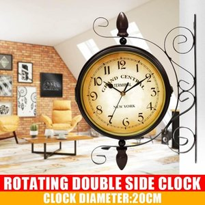 Retro Double Side Rotating Wall Clock Metal Hanging Clock Outdoor  Home Garden Decor European Gift Wall Mounted+Bracket
