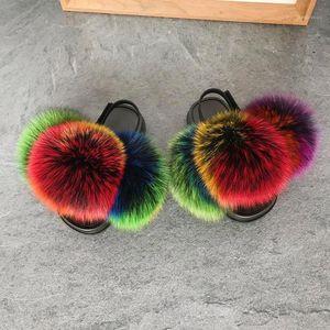 Pom Pom Children's Fur Slippers Non-slip Slides Baby Elastic Shoes Girls Fluffy Furry Sandals Kids Rainbow Slippers1