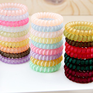 Girls Women Frosted Telephone Line Gum Cord Elastic Ponytail Holders Hairband Headband Ring Rope Scrunchy Gum