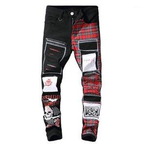 Мужские джинсы мужские дьявола череп панк рок-букв плед печать хип-хоп брюки проблемные патчи черные джинсовые брюки падение 1