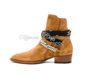 Man New Brand Ami Ri Rock Roll Bandana Buckle Boots Suede Genuine Leather Chain Luxury Fashion Kanye West New York Street Shoes Boots