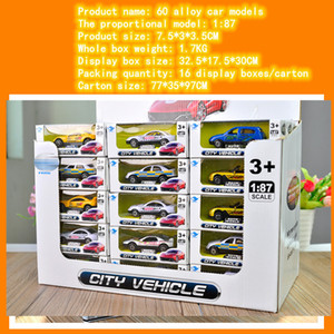 Children's toy alloy 1:87 car model, palm alloy, racing car series, 60 American sports car series, 48 models model toy set
