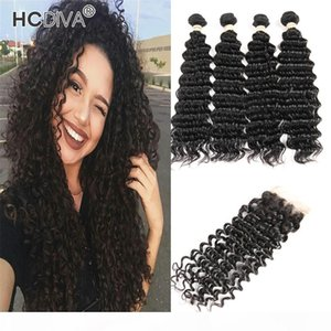 HCDIVA Brazilian Deep Wave Bundles With Closure Human Hair Weave 4 Bundles With Closure Unprocessed Remy Bundles With 4x4 Lace Closure