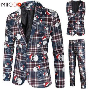 Santa Claus Printting Christmas 3 Pieces Blazer Vest Pants Fashion One Breasted Slim Mens Striped Suit Set Terno Masculino M-4XL