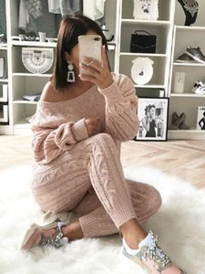 Winter Women Solid Casual Knitted Sweater Two Piece Set Plus Size Long Sleeved Trousers 2 Piece Set Womens Outfits Pullover1