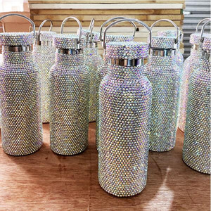 500 ml Nuevas señoras Flash Diamond Tazas de lujo Aislamiento de lujo Acero inoxidable Rhinestone completo Vaso Taza de agua portátil Taza de cumpleaños Regalo de cumpleaños