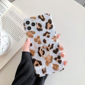 Jary Shell leopard print style imd marble with ring cover mobile phone case for iphone 12 11promax for girl women