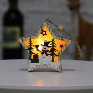 Pendants Wooden Star Round Frame Lamp Luminous Christmas Tree Ornament Hanging Pendant Ornaments Party Decoration DHB2725