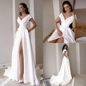 2021 Boho Garden Beach Wedding Dresses Elegant Satin Off Shoulder Sexy High Split A Line Bridal Gowns Sweep Train Vestidos De Novia AL7705