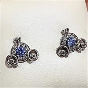 2020 New 925 Sterling Silver Pumpkin Coach Stud Earrings Fits European Pandora Charm Jewelry
