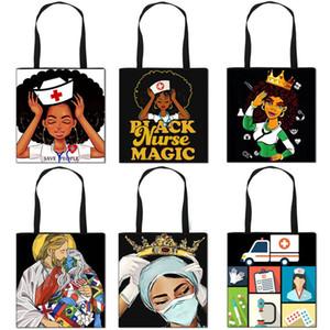 Afro Girls nurse pattern folding shopping bag convenient storage bag tote bag African black girl Handbag Totes Storage Gift Bags F111002