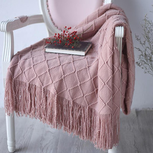 Pink 127*170cm Knitted Soft Knit Luxury Throw Blanket Sofa Chair Home Decoration Textile Blanket Baby Children Bedding Use