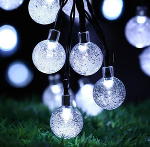 6.5M 30 LED Crystal Ball Solar Powered Light Outdoor String for Outside Garden Patio Party Christmas Solar Fairy Light Strings Gift DWF3314