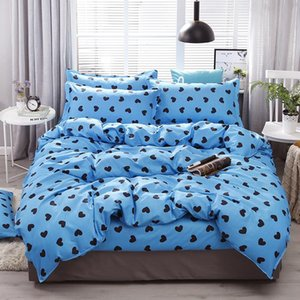Black Heart Printed Blue Bed Cover Set Lovers Duvet Cover Adult Child Bed Sheets And Pillowcases Comforter Bedding Set 61037