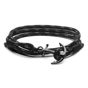 Tom hope bracelet 4 size Handmade Triple Black thread rope bracelet bangle stainless steel black anchor charms bracelet with box and tag TH6