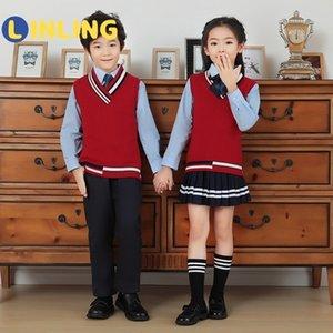 Linling Un uniforme para niños Japonés Estilo Británico Escuela Uniformes Niño Chica Estudiante Equipo Kindergarten Etapa Set Ropa V324 201202