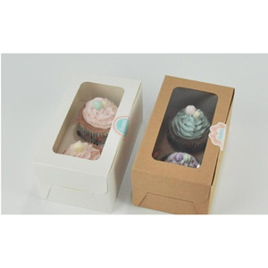 Kraft Card Paper Cupcake Box 2 Cup Cake Holders Muffin Cake Boxes Dessert Portable Package Box jllAam eatout