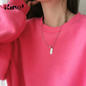 Kinel 925 Sterling Silver Pendant Necklace for Women Fashion Elegant English Letter Tag Asymmetrical length Chain Jewelry