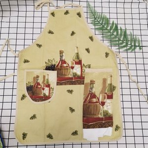 New Design 100 %Cotton Ladies Kitchen Aprons Creative Cartoon Printed Cooking Apron With Pockets Hand Towel Household Cleaning Tools 145 G2