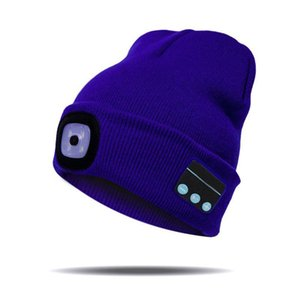 Hot Bluetooth Beanie Hat with LED Headlight Lighted Beanie Cap Rechargeable with Wireless Bluetooth Winter Warm Knit Hat CNT 66