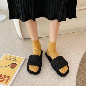 Тапочки для женской одежды 2020 Осенняя новая новая корейская мода универсальная сетка красных ins открытый носок плоская дна вскользь шерстяные туфли c1120