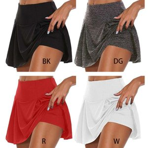 Women Athletic Tennis Golf Sports Trousers Skirt 2-In-1 Stretchy Running Leggings Skorts Solid Color Active Shorts S-5XL