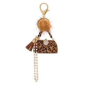2020 New Luxury Leopard Print Ball Handbag Keychains For Women Bag Charm Pendant Fashion Keyrings Car Key Chain Ring