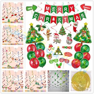 8pcs set Santa snowman elk cartoon PVC Spiral Pendant Balloons Garland Hanging Ornaments Christmas Decoration party festival Supplies