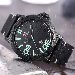 MINI FOCUS Sport Watch Quartz Waterproof Military Watches Mens Big Dail Wristwatch Male Luxury Genuine Leather Band
