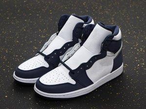 2021 NEUE EXKLUSIVE 1 HIGH OG Japan Basketballdesigner Schuhe White Midnight Navy Metallic Silver Mode Chaussures Trainer kommen mit