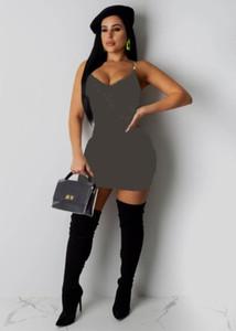 Femmes Robes Sans manches Gallus Casual Robe Soirée Dress Club Robe Mode Lettre Mini Dress KLW2594