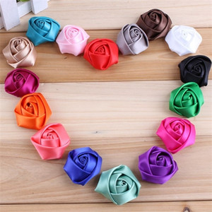 "200pcs lot 1.4"" 16 Colors Mini Fashion DIY Headband Fabric Flowers Rolled Rosette Satin Artificial Flower For Wedding Z1120"