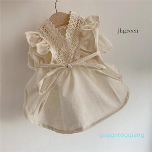 Creamy White Pet Dress Lacing Fashion Dog And Cat Nice Clothes Outdoor Party Korean Style Dog Skirt