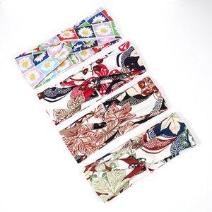 Coreano Multicolor Tie Dye Stampa Tipo di stampa Twist Cross Headband Sport Yoga Turban Fandbands Ampia Elastic Headwear Accessori q wmtqzz
