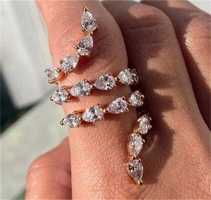 Luxury Jewelry 925 Sterling Silver& Rose Gold Fill Pear Cut White Topaz CZ Diamond Gemstones Women Wedding Open Adjustable 80 L2