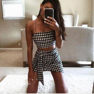 Fashion Women checkerboard 2 Piece Set Bodycon Skirt Crop Top off shoulder Tank Summer two piece set Bandge gingham Mini Skirt