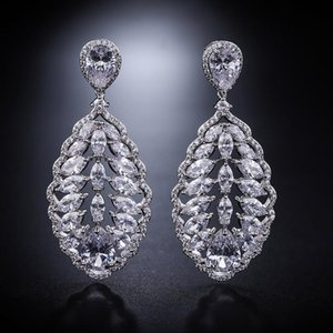 European and American exaggerated jewelry fashion luxury all-match full diamond diamond lace earrings women water drop women's e