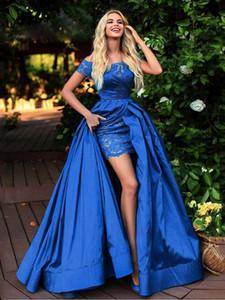 Robe De Soiree Short Sleeve Detachable Skirt Evening Dresses High Slit Arabic Formal Prom Dresses Plus Size Party Gowns P137
