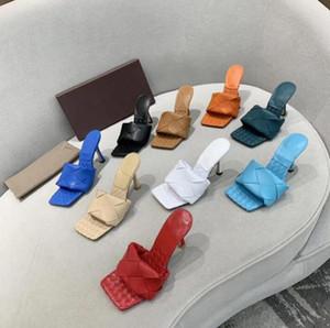 2020 Kadınlar Yüksek Topuklu Lido Sandalet Yaz Terlik Dokuma Deri Katır Squared Sole Lido Sandal Seksi Parti Sandalet Ayakkabı Kutusu Ile