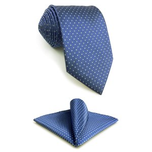 F6 Blue Polka Dots Neckties for Men Set Classic Wedding Silk Extra long size Dress Hanky