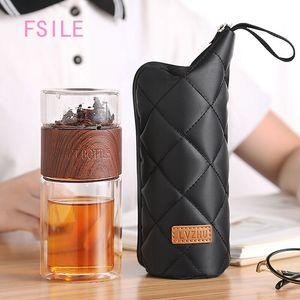 Fsile Fashion Classic Tea Peal Tea Cup женской портативный утесящий утесящий двойной слой стекло бытовой прозрачной чашки фильтровальная чашка LJ200821