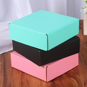 Corrugated Paper Colored Gift Packaging Folding Square Box Jewelry Packing Cardboard Boxes 15*15*5cm LX2134