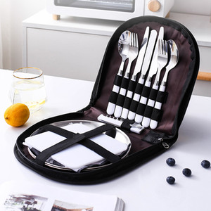 Outdoor Picnic Camping Tableware Fork Spoon Knife Bottle Opener Stainless Steel Foldable Pocket Tableware Set Hike Kitchen Tools Y1119