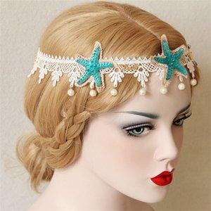 امرأة عيد جارلاند الفتيات عطلة التصوير القبعات المرأة أمامي ارتداء الدانتيل نجم البحر اللؤلؤ الشعر الفرقة جديد وصول 9 5hya l1