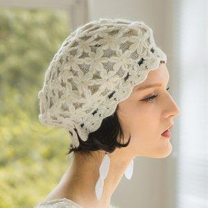 Горячая распродажа-2020 цветок двухэтажный берет шляпа женщин весна осень корейский берег кепки девушка сладкие милые вязаные шляпы женские мода теплые колпачки