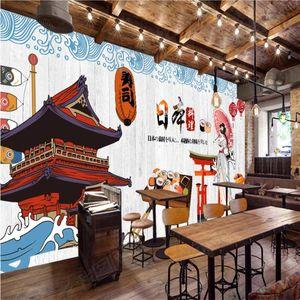 Japanese lady sushi mural wallpaper 3D white wood plank background wall paper restaurant industrial decor papel de parede 3D