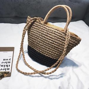 Designer-New Summer Women Fashion lace Handbags Female Beach Wicker Rattan Bag Shoulder Bag Shopping Straw Casual Tote