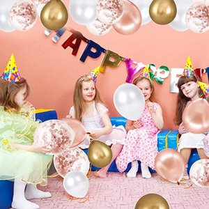 48pcs set Gold Sequins Round Balloon Happy Birthday Latex Balloons for Party Decoration Set Birthday Party Favors Supplies Kimter-Z76Z