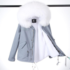 2020 New Fashion Women Winter Pink Fur Coat Short Long Faux Fur Liner Lady MR Style Real Raccoon Collar Jacket Top brand